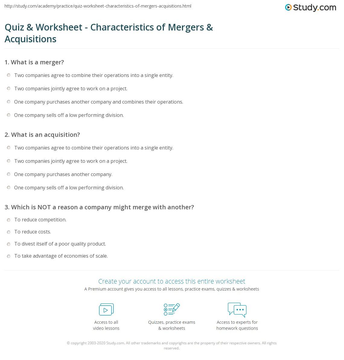 quiz worksheet characteristics of mergers acquisitions study com