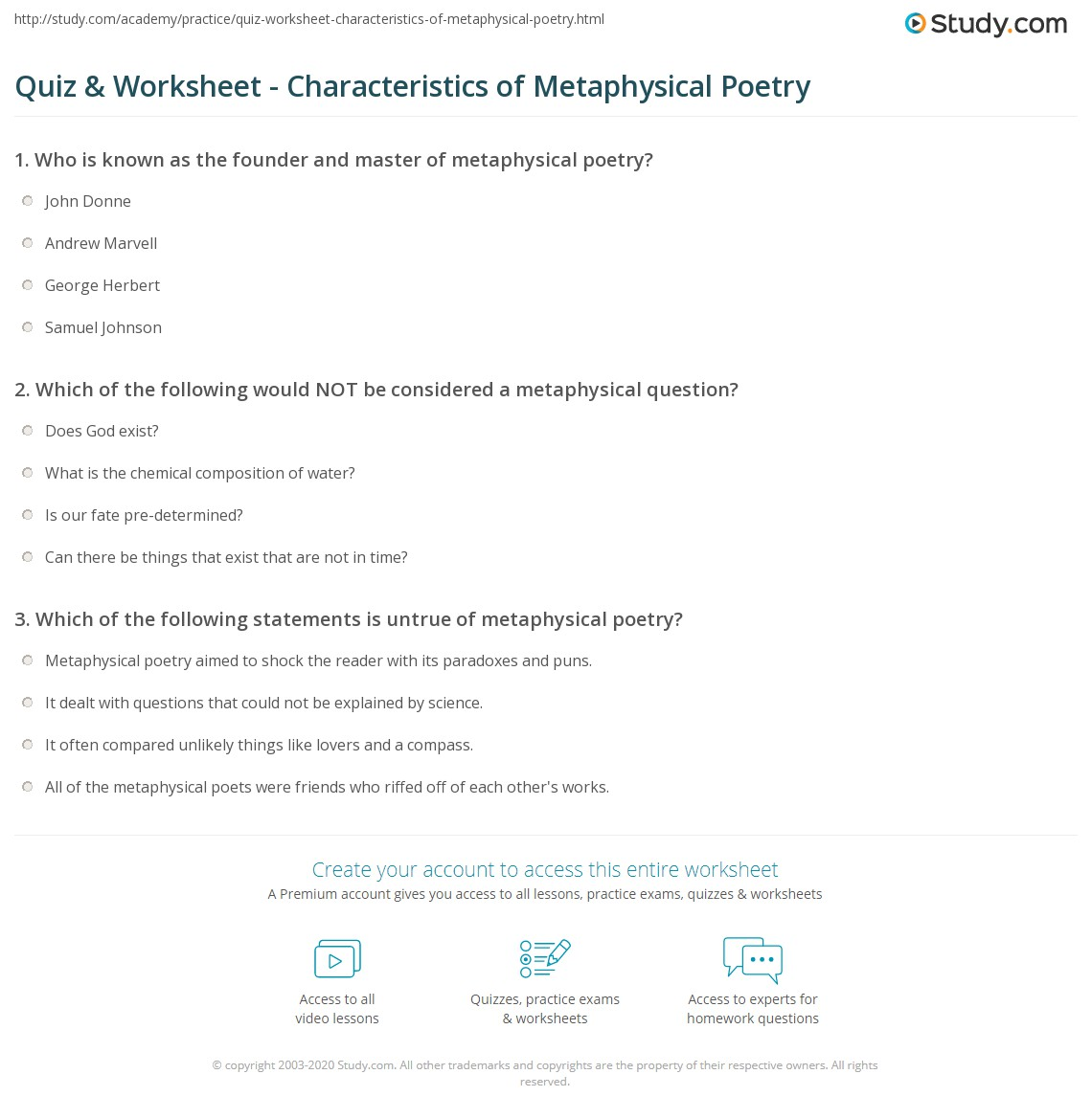 characteristics of metaphysical poetry Characteristics of metaphysical poetry simple, conversational diction: written in manner of everyday speech complex  sentence patterns: words are easy to.