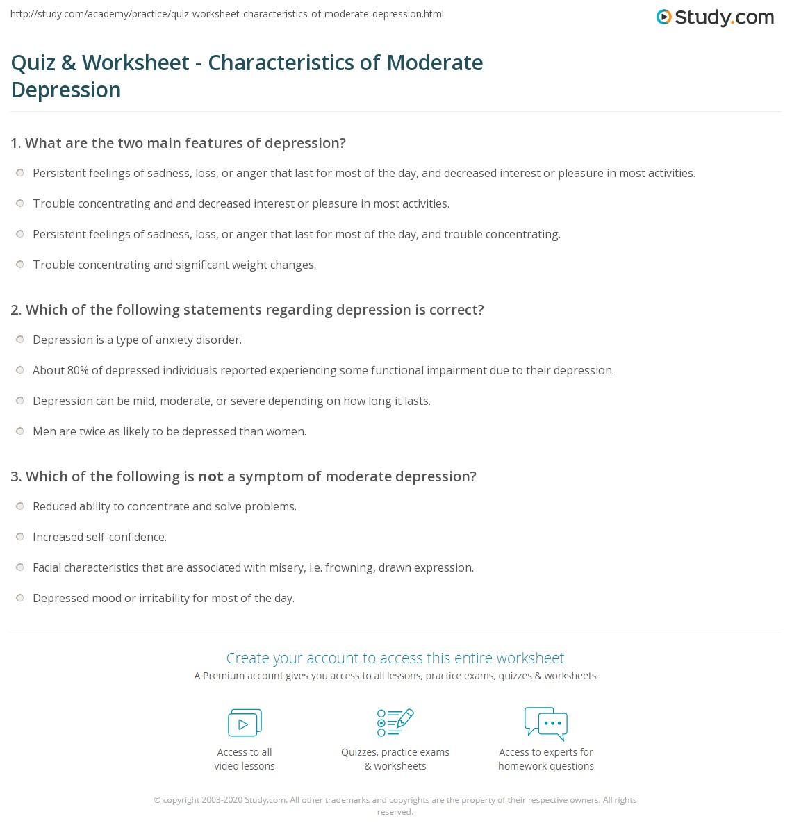 Worksheets Depression Worksheets quiz worksheet characteristics of moderate depression study com print what is definition symptoms treatment worksheet
