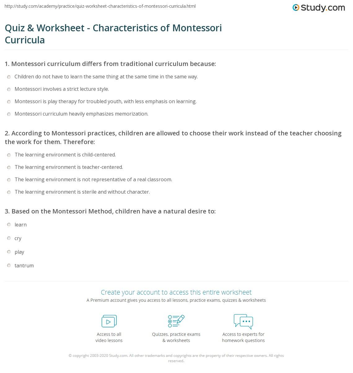 Worksheets Montessori Worksheets quiz worksheet characteristics of montessori curricula study com print what is curriculum worksheet