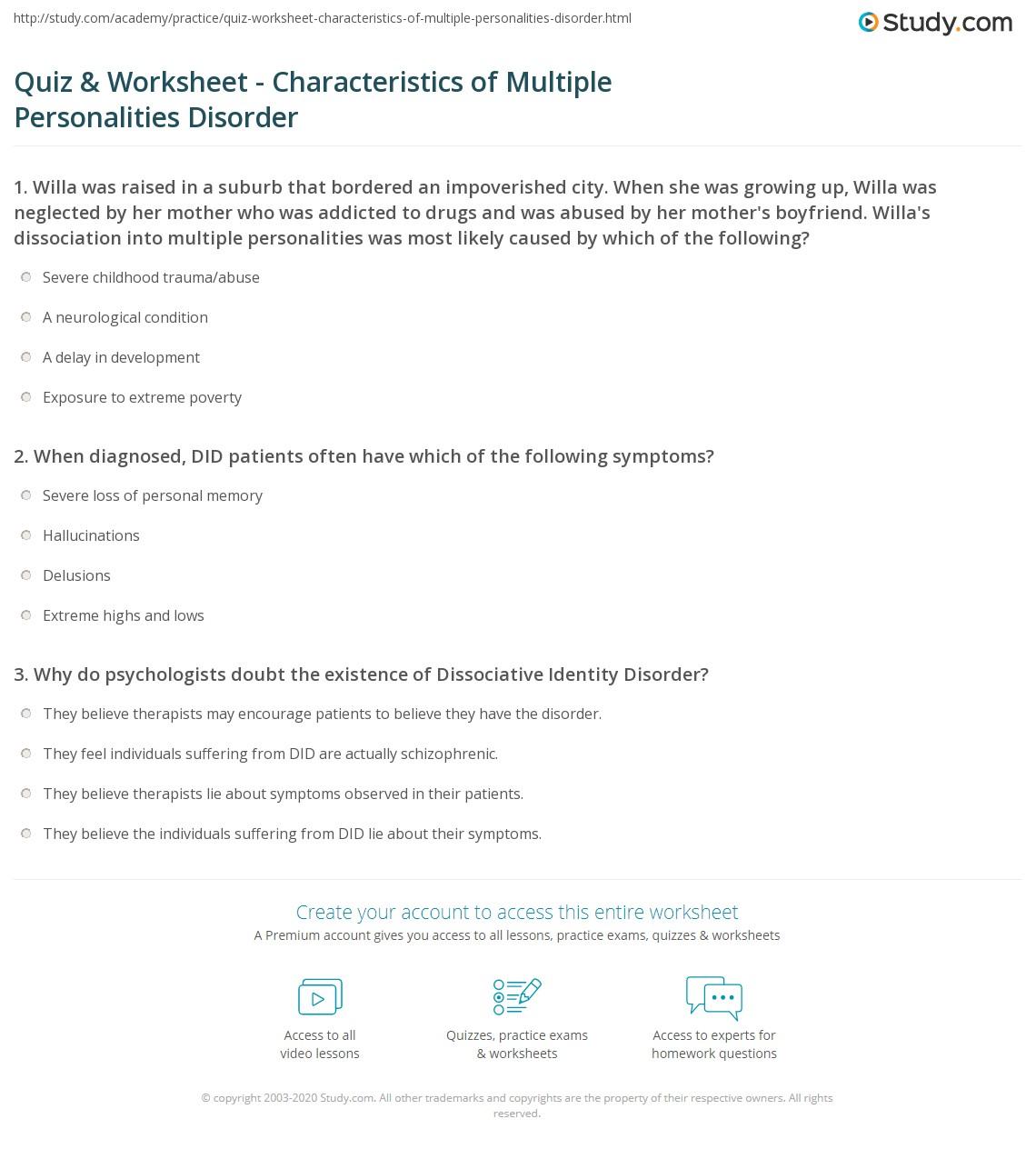 Quiz & Worksheet - Characteristics of Multiple Personalities Disorder ...