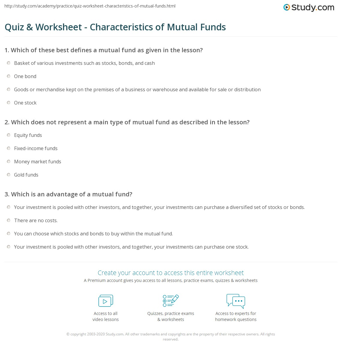 quiz & worksheet - characteristics of mutual funds | study