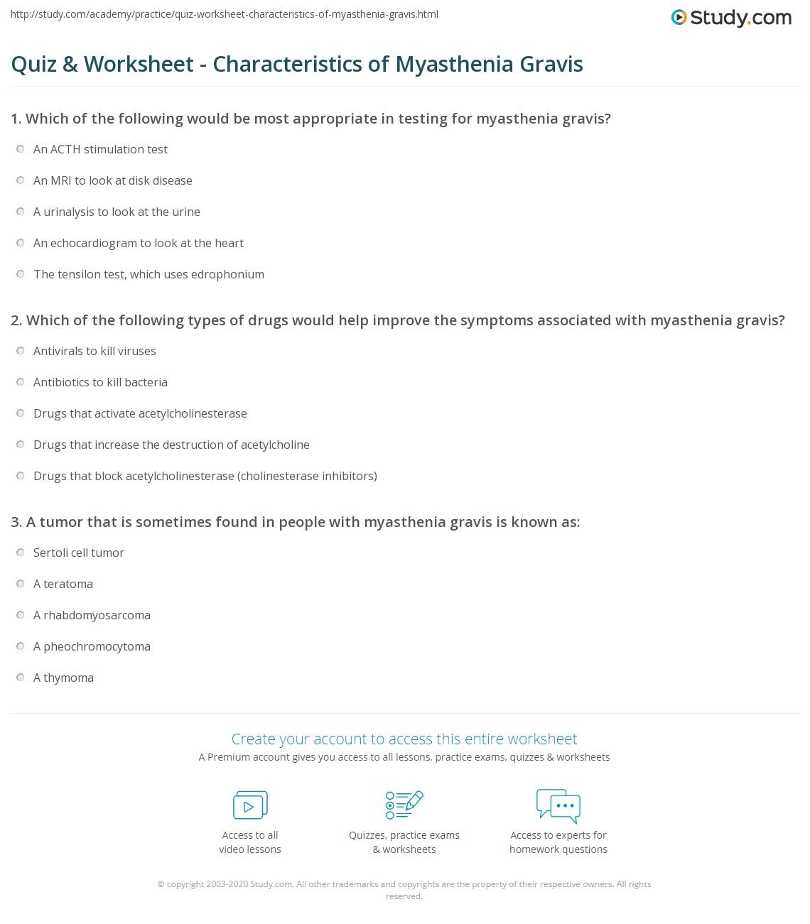 Quiz & Worksheet - Characteristics of Myasthenia Gravis | Study.com