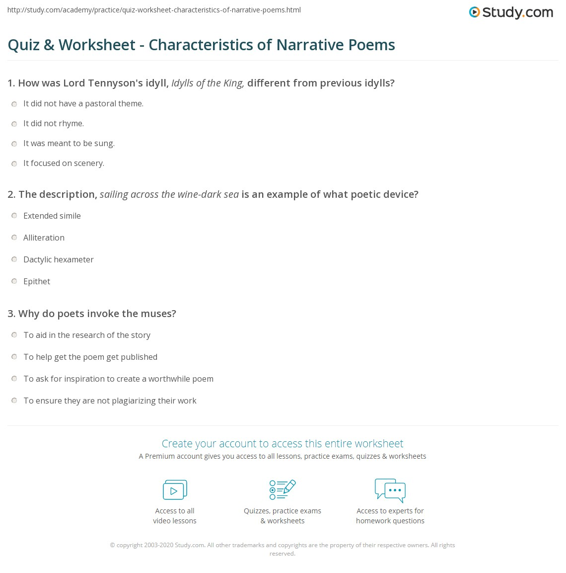 Quiz Worksheet Characteristics Of Narrative Poems Study