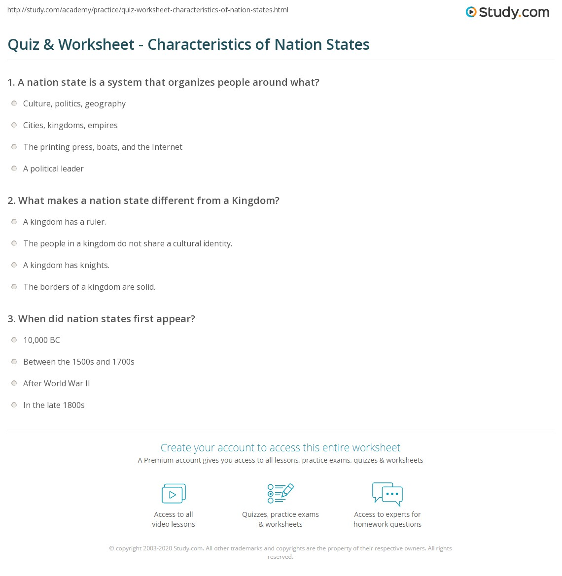 quiz & worksheet - characteristics of nation states | study