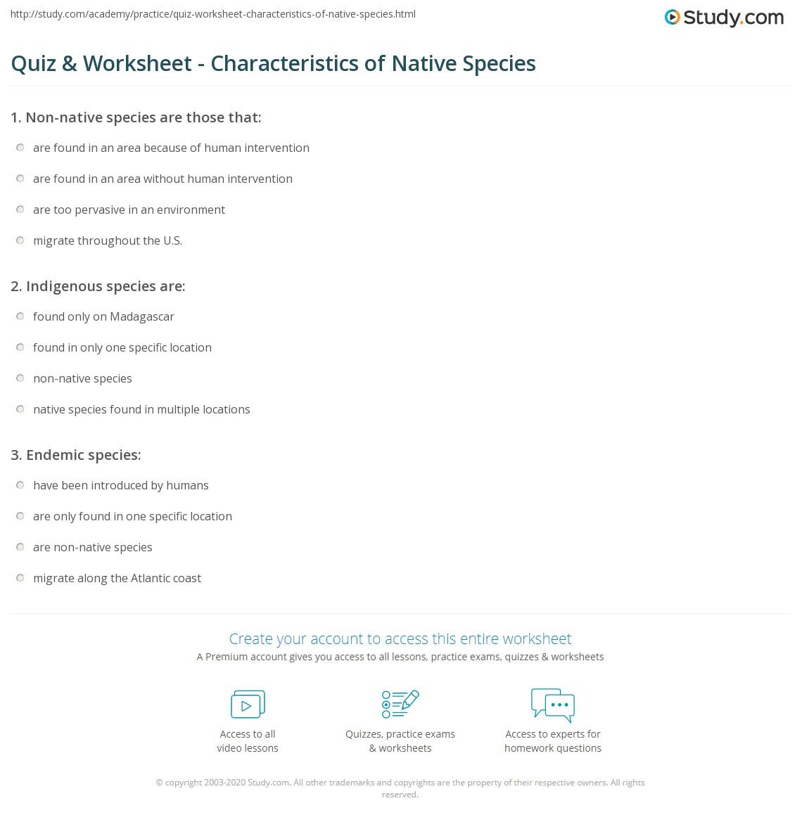 quiz & worksheet - characteristics of native species | study