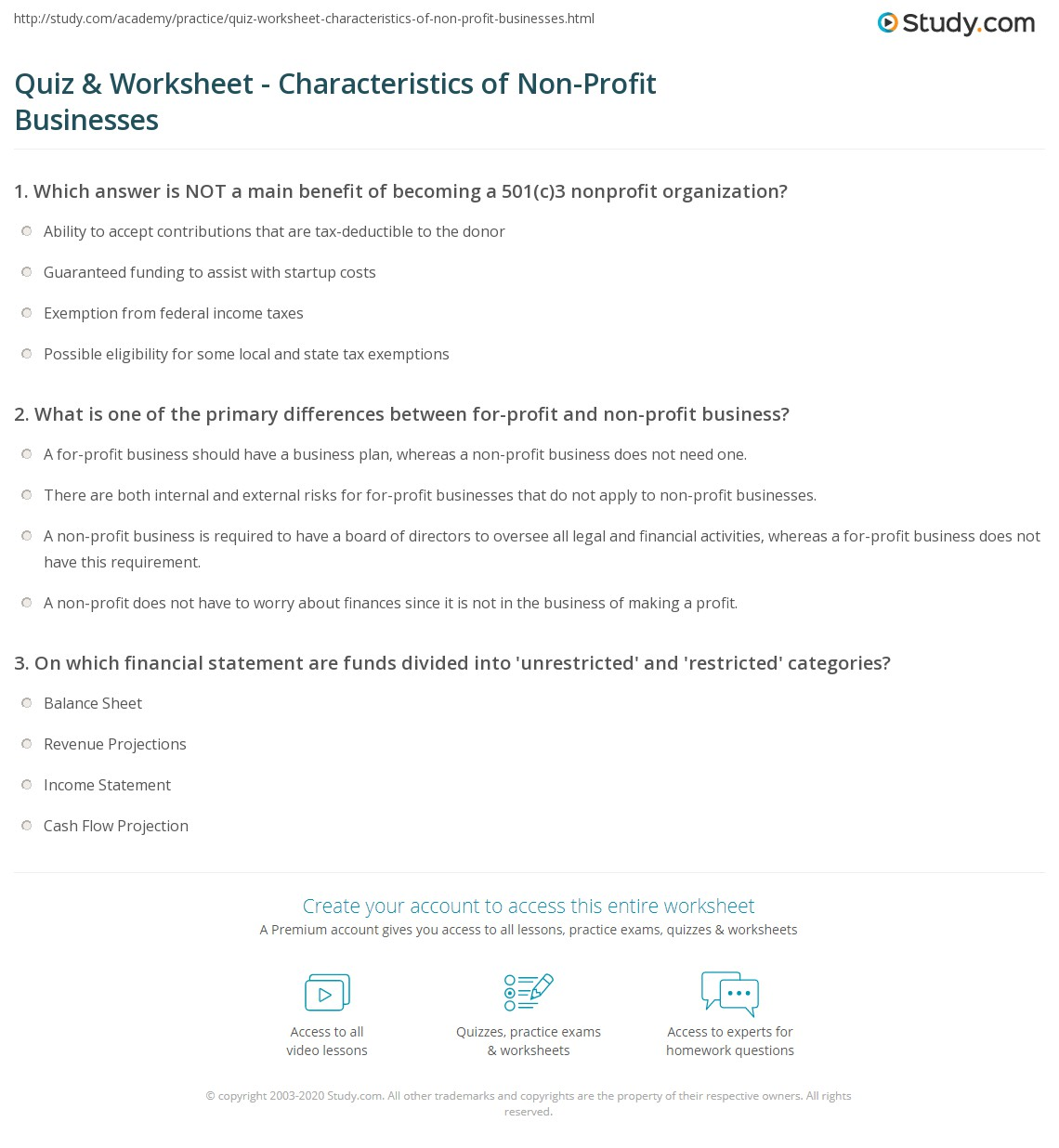 quiz & worksheet - characteristics of non-profit businesses | study