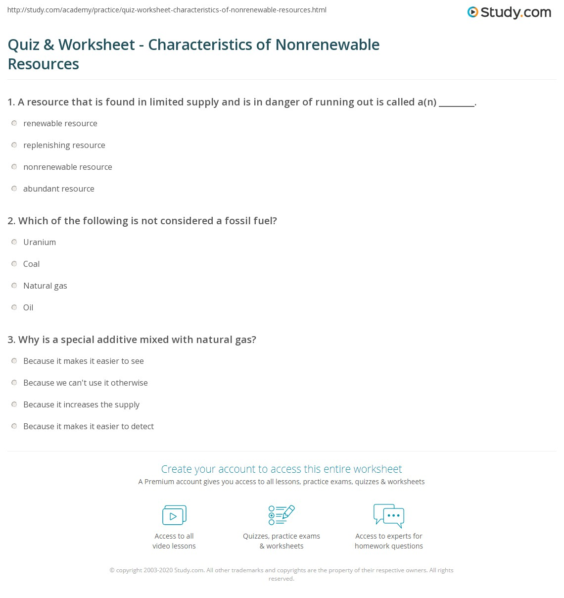 quiz & worksheet - characteristics of nonrenewable resources | study