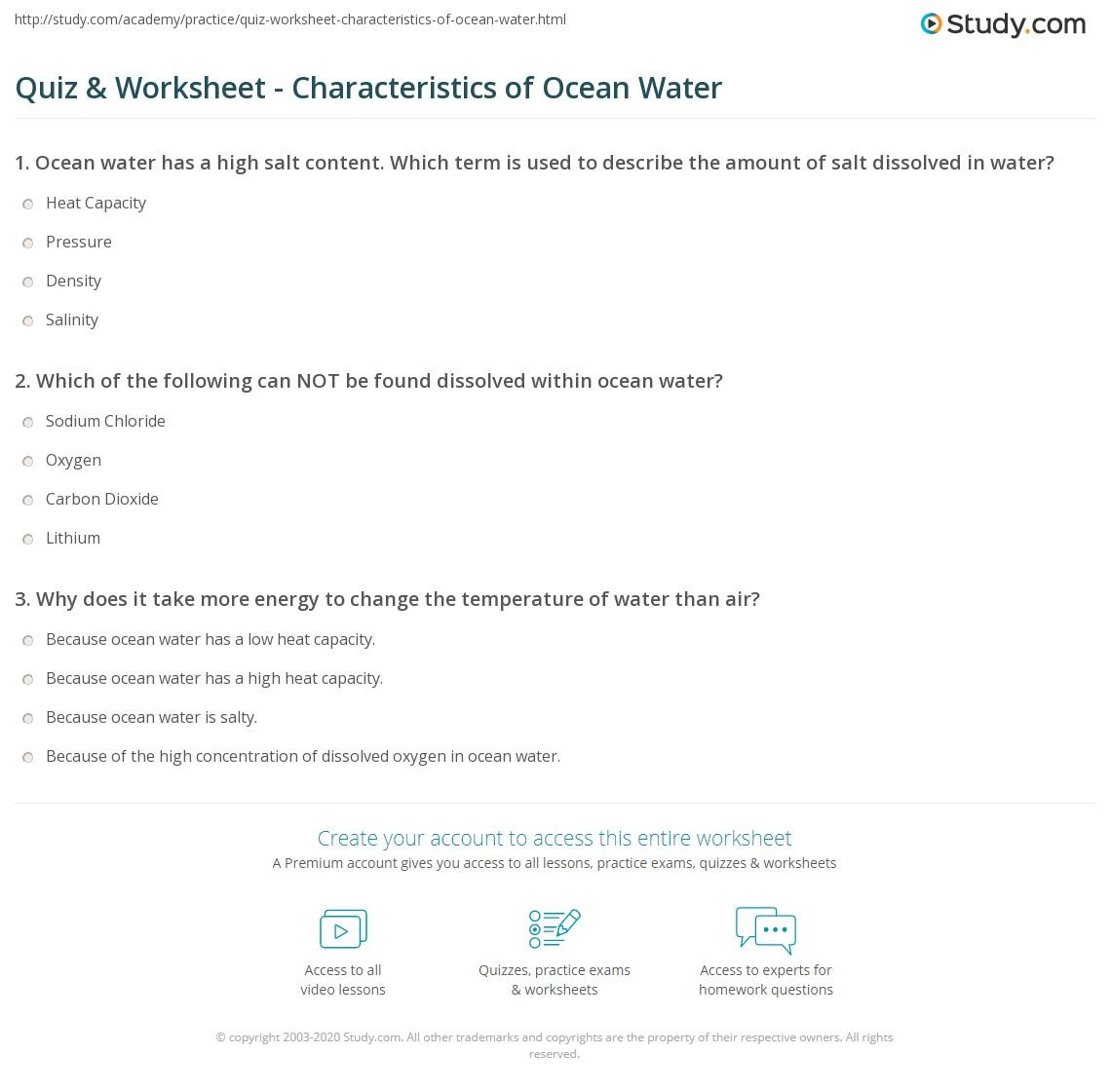 Uncategorized Milliken Publishing Company Worksheet Answers quiz worksheet characteristics of ocean water study com print properties worksheet