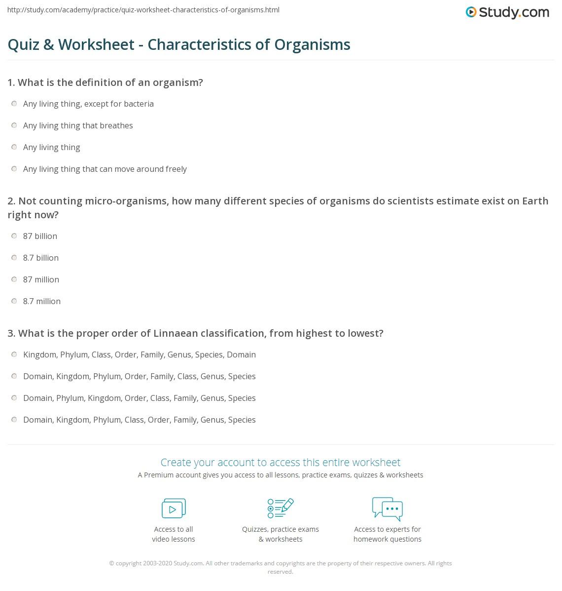 quiz worksheet characteristics of organisms. Black Bedroom Furniture Sets. Home Design Ideas