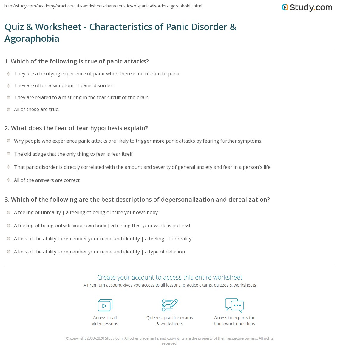 quiz & worksheet - characteristics of panic disorder & agoraphobia