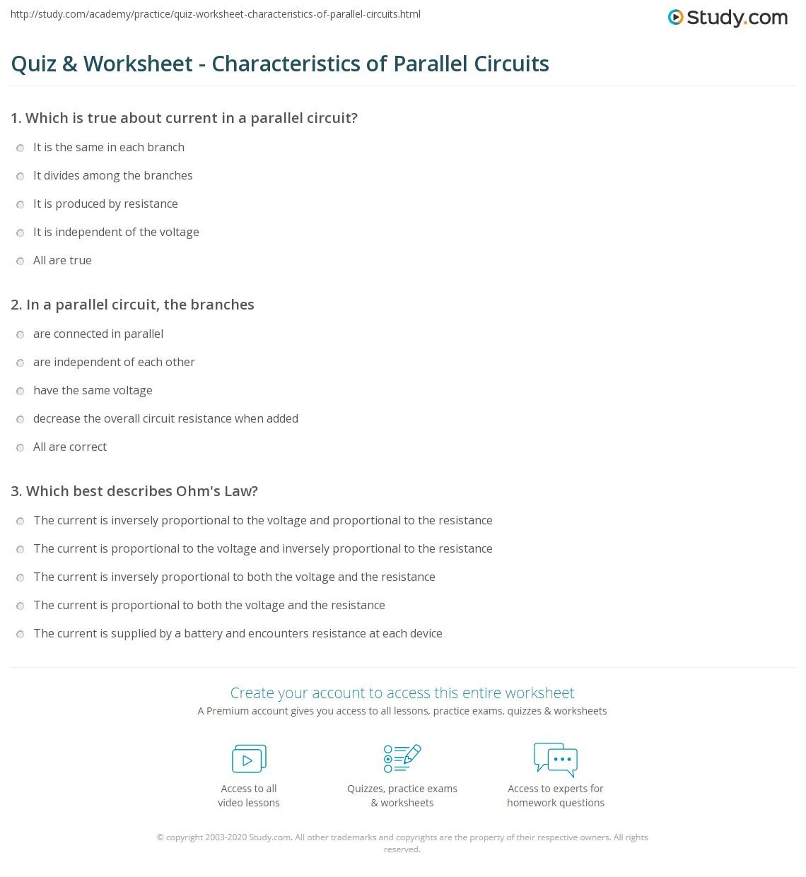 Quiz Worksheet Characteristics Of Parallel Circuits