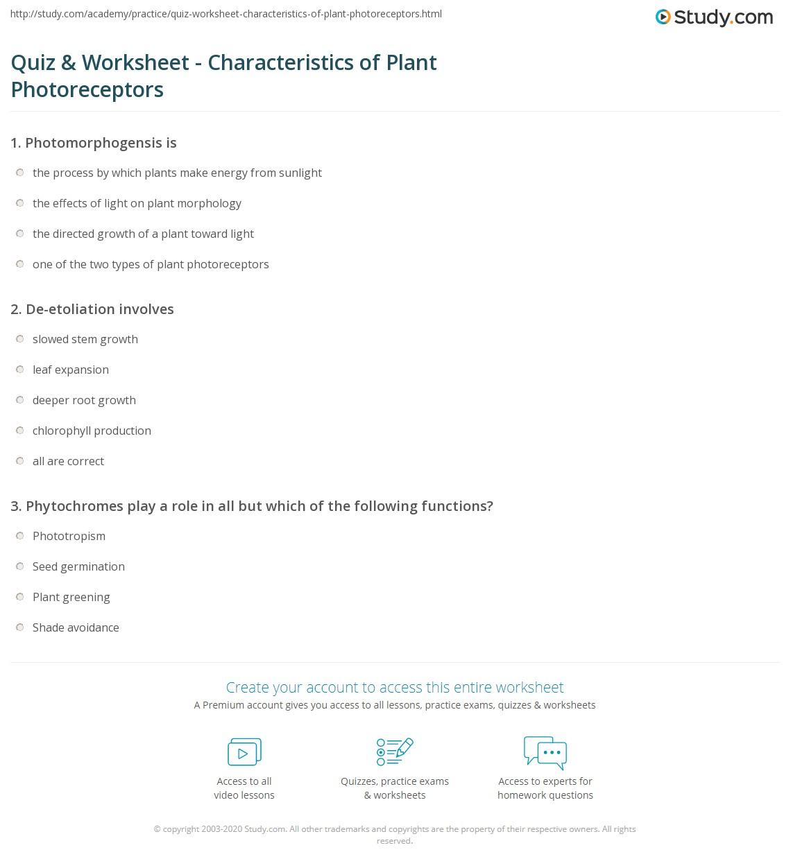Quiz & Worksheet - Characteristics of Plant Photoreceptors   Study.com