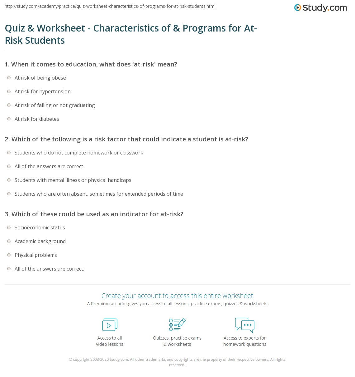 Quiz & Worksheet - Characteristics of & Programs for At-Risk ...