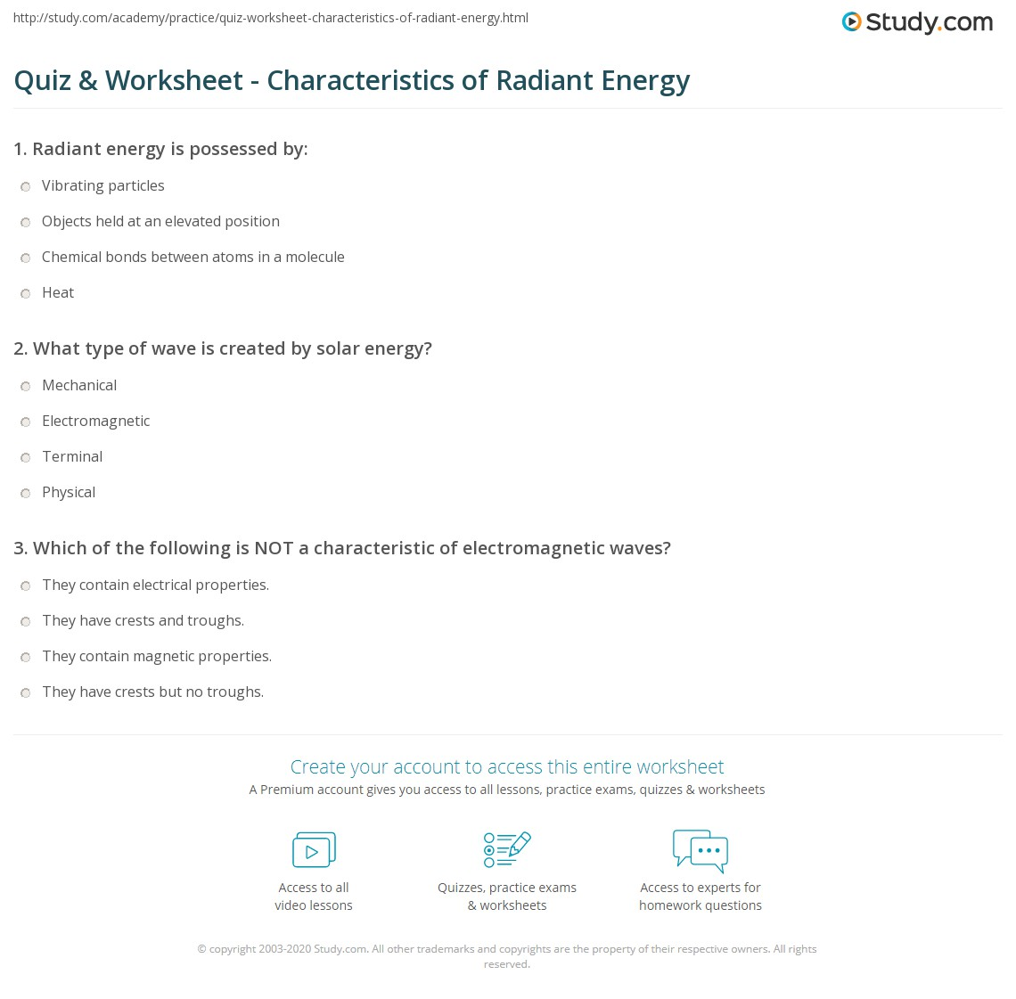 worksheet Energy Worksheets 3rd Grade quiz worksheet characteristics of radiant energy study com print what is definition examples worksheet