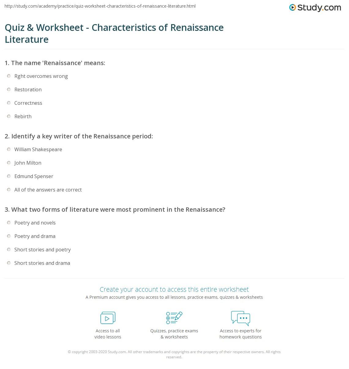 Worksheets Renaissance Worksheets quiz worksheet characteristics of renaissance literature print writers worksheet