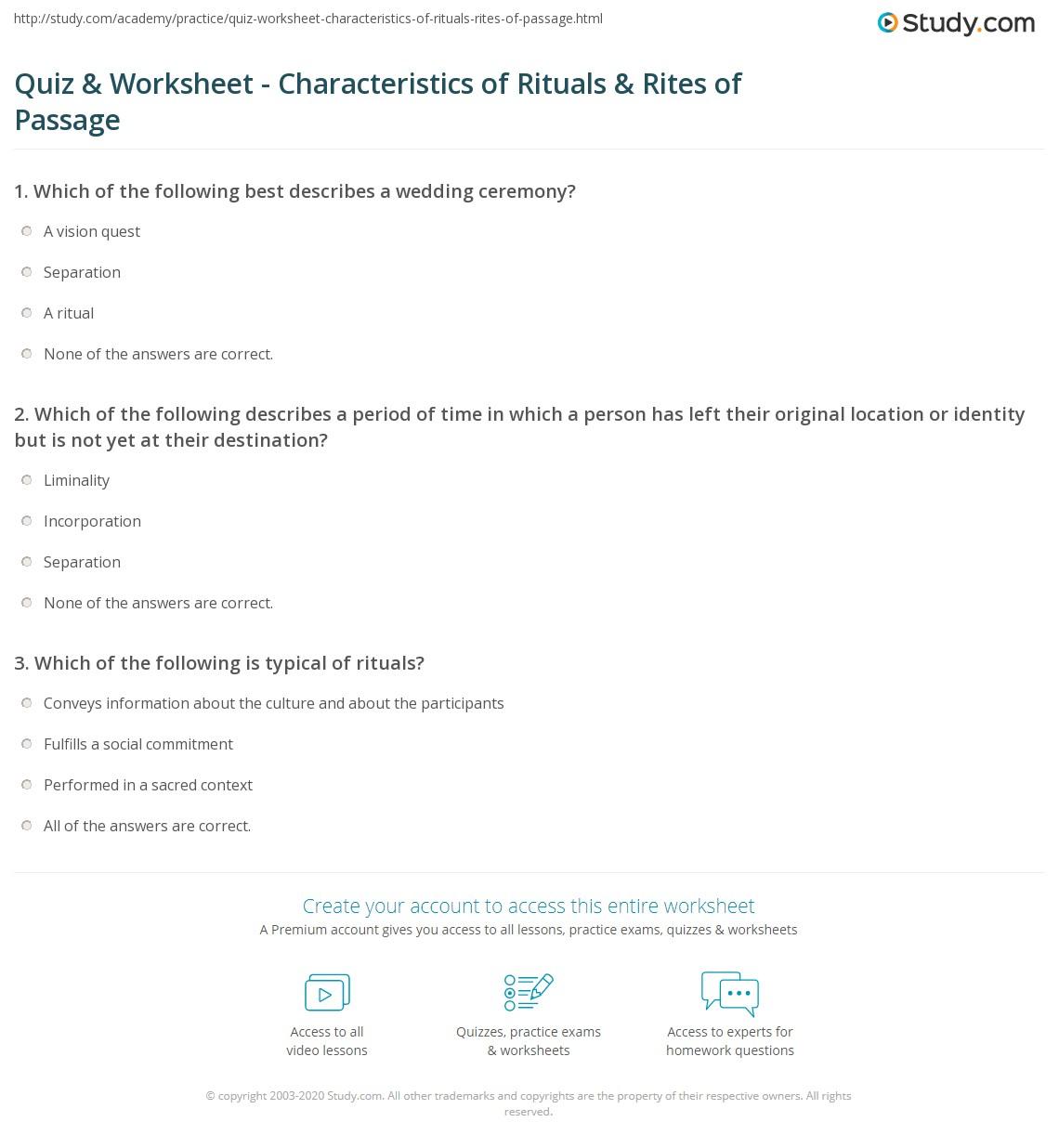Quiz & Worksheet - Characteristics of Rituals & Rites of Passage