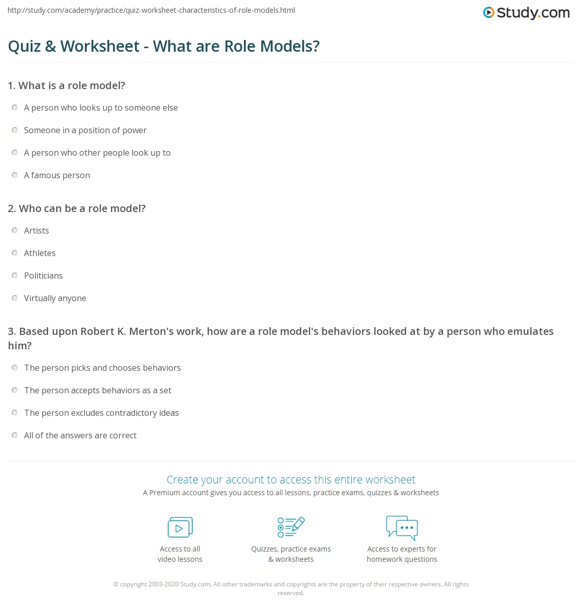 quiz & worksheet - what are role models? | study