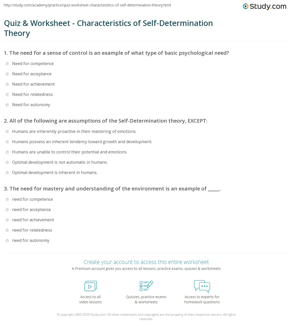 quiz worksheet characteristics of self determination theory. Black Bedroom Furniture Sets. Home Design Ideas