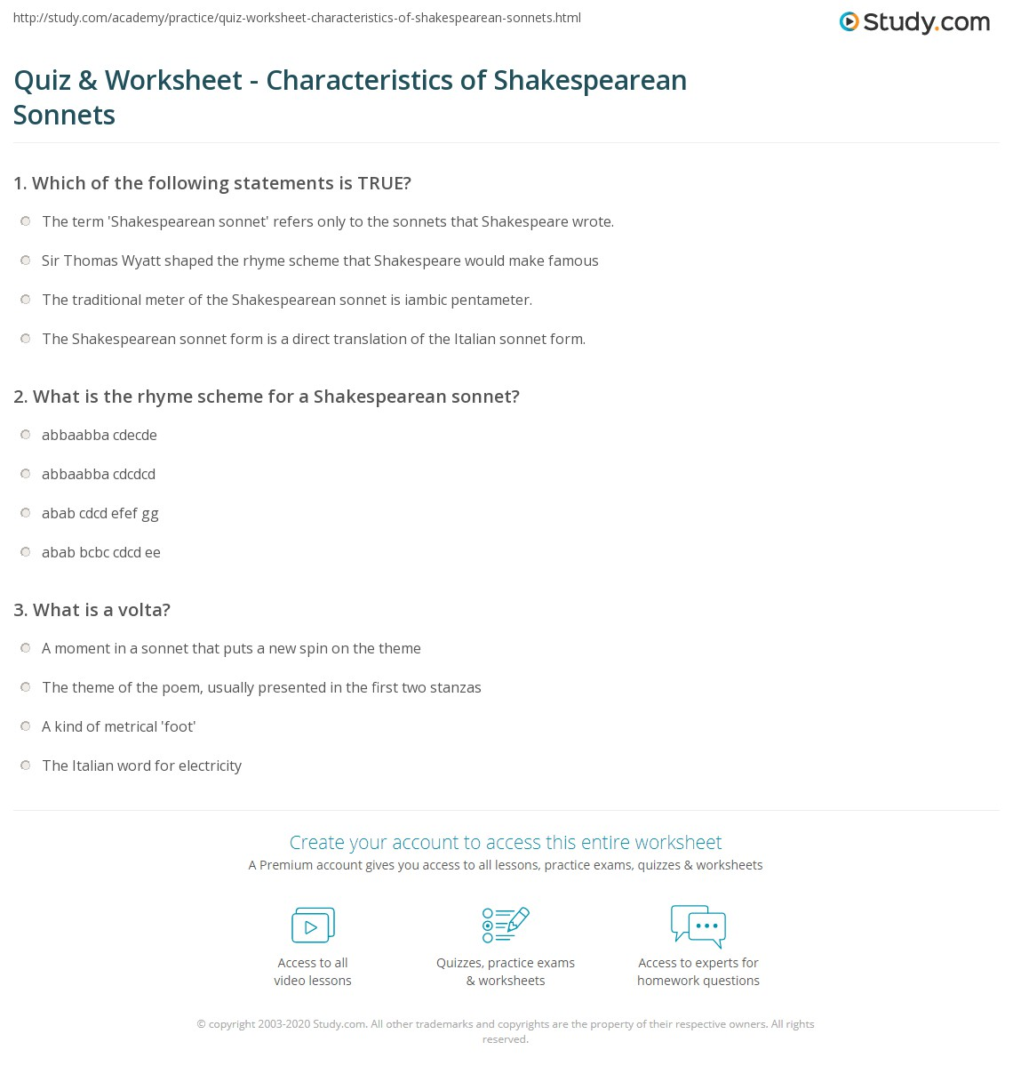 quiz worksheet characteristics of shakespearean sonnets. Black Bedroom Furniture Sets. Home Design Ideas