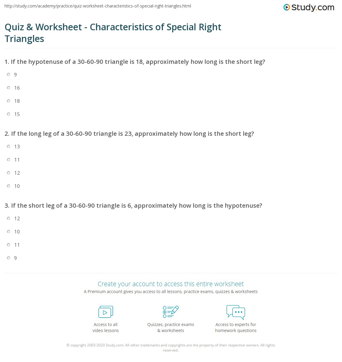 Quiz & Worksheet - Characteristics of Special Right Triangles ...