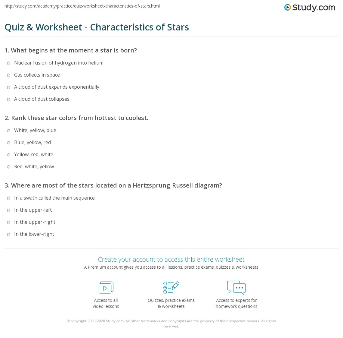 Quiz Worksheet Characteristics Of Stars Study Com