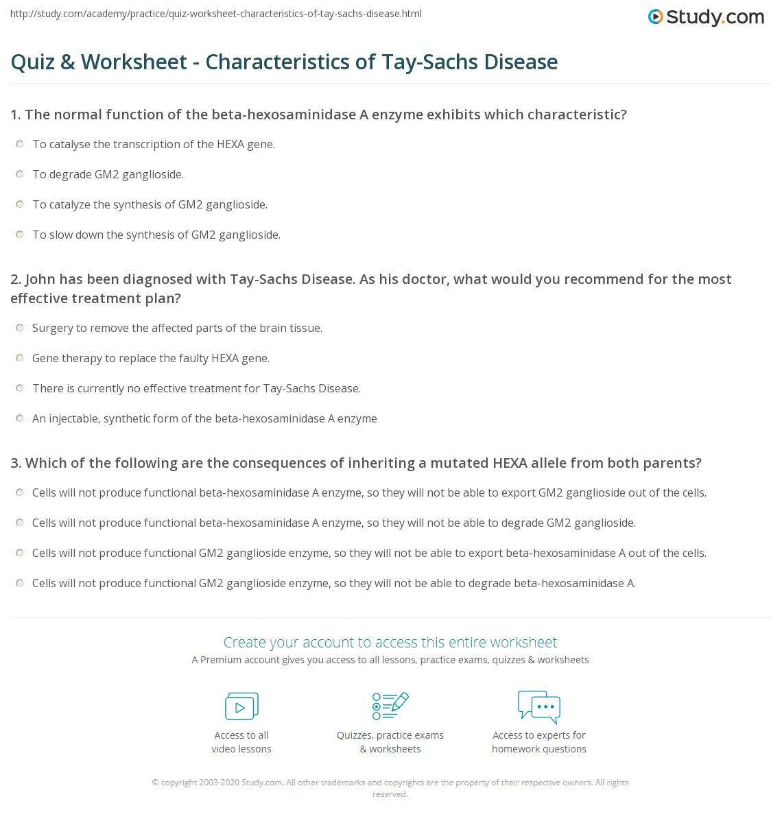 Quiz & Worksheet - Characteristics of Tay-Sachs Disease   Study.com