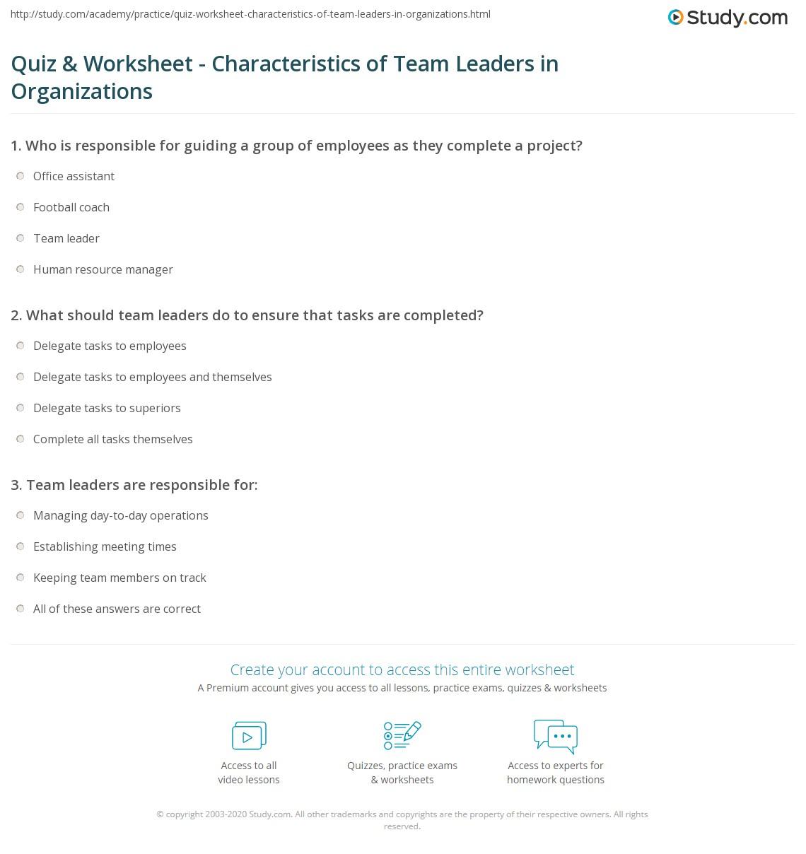 Quiz & Worksheet - Characteristics of Team Leaders in ...