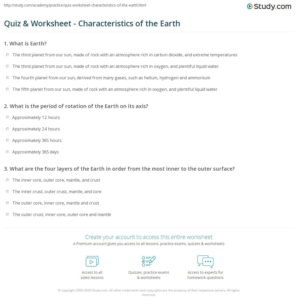 Quiz Worksheet Characteristics of the Earth – Layers of the Earth Worksheets