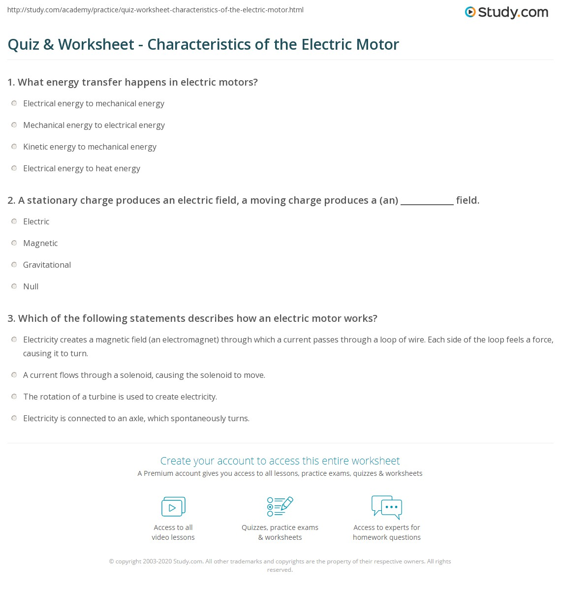 Print Electric Motor: Definition & Examples Worksheet