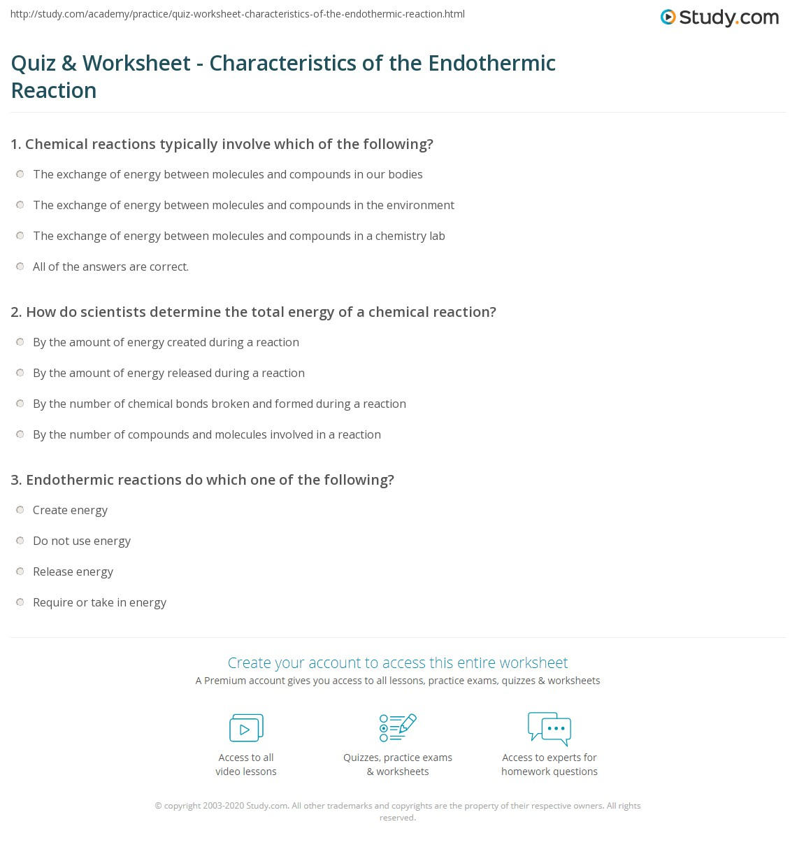 Quiz Worksheet Characteristics Of The Endothermic Reaction