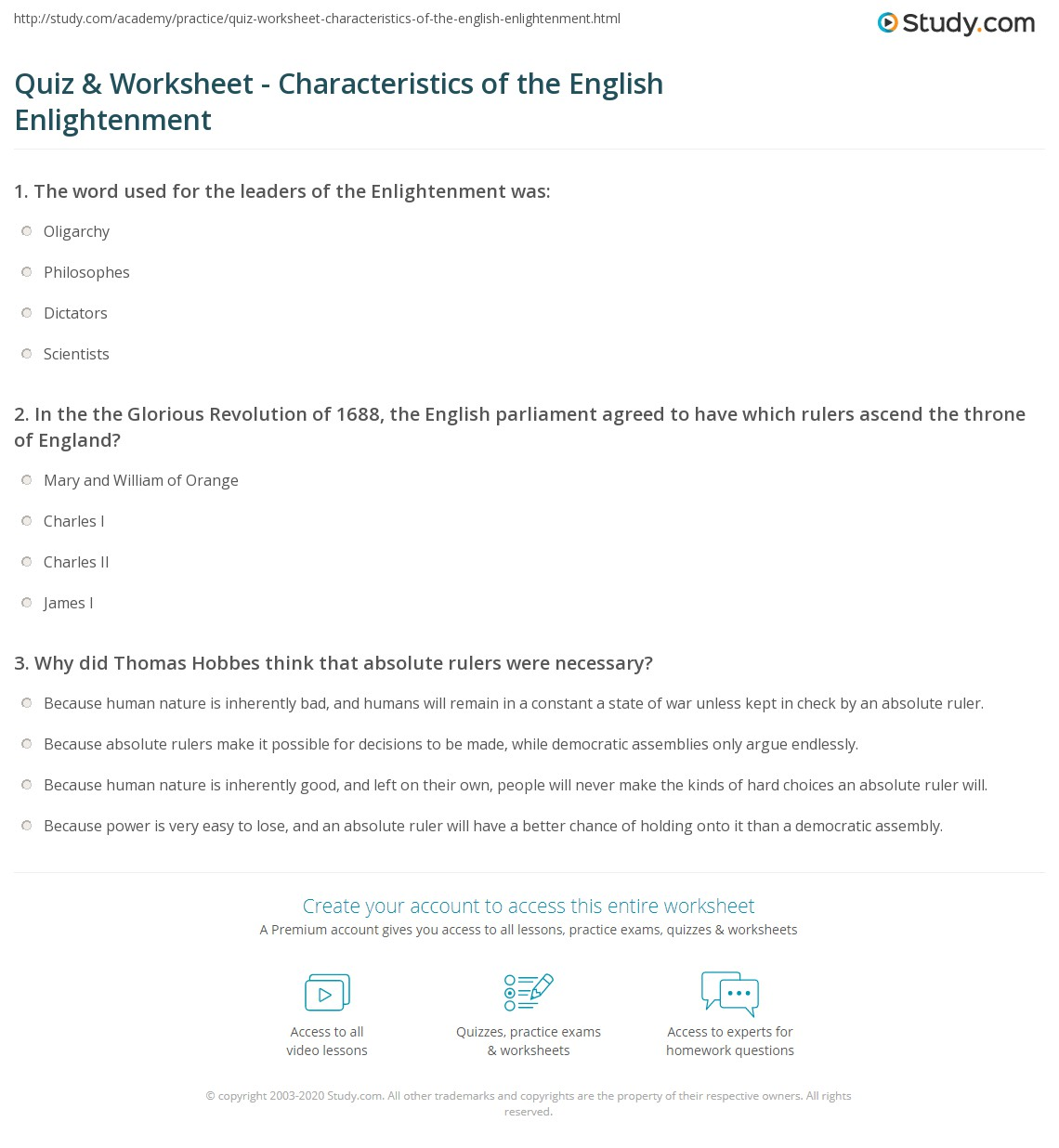 quiz worksheet characteristics of the english enlightenment. Black Bedroom Furniture Sets. Home Design Ideas