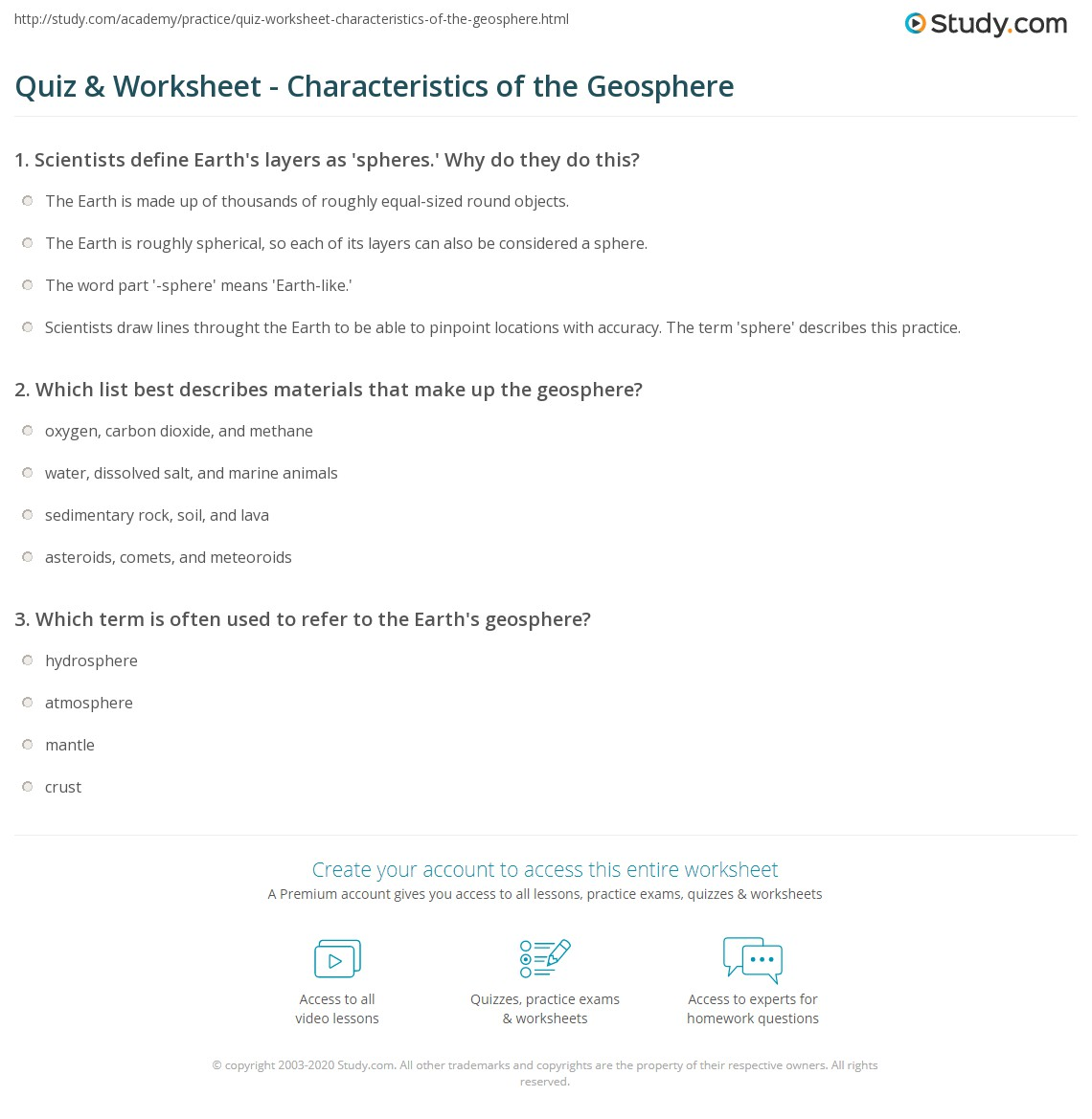 Worksheets Layers Of The Earth Worksheets quiz worksheet characteristics of the geosphere study com print definition facts worksheet