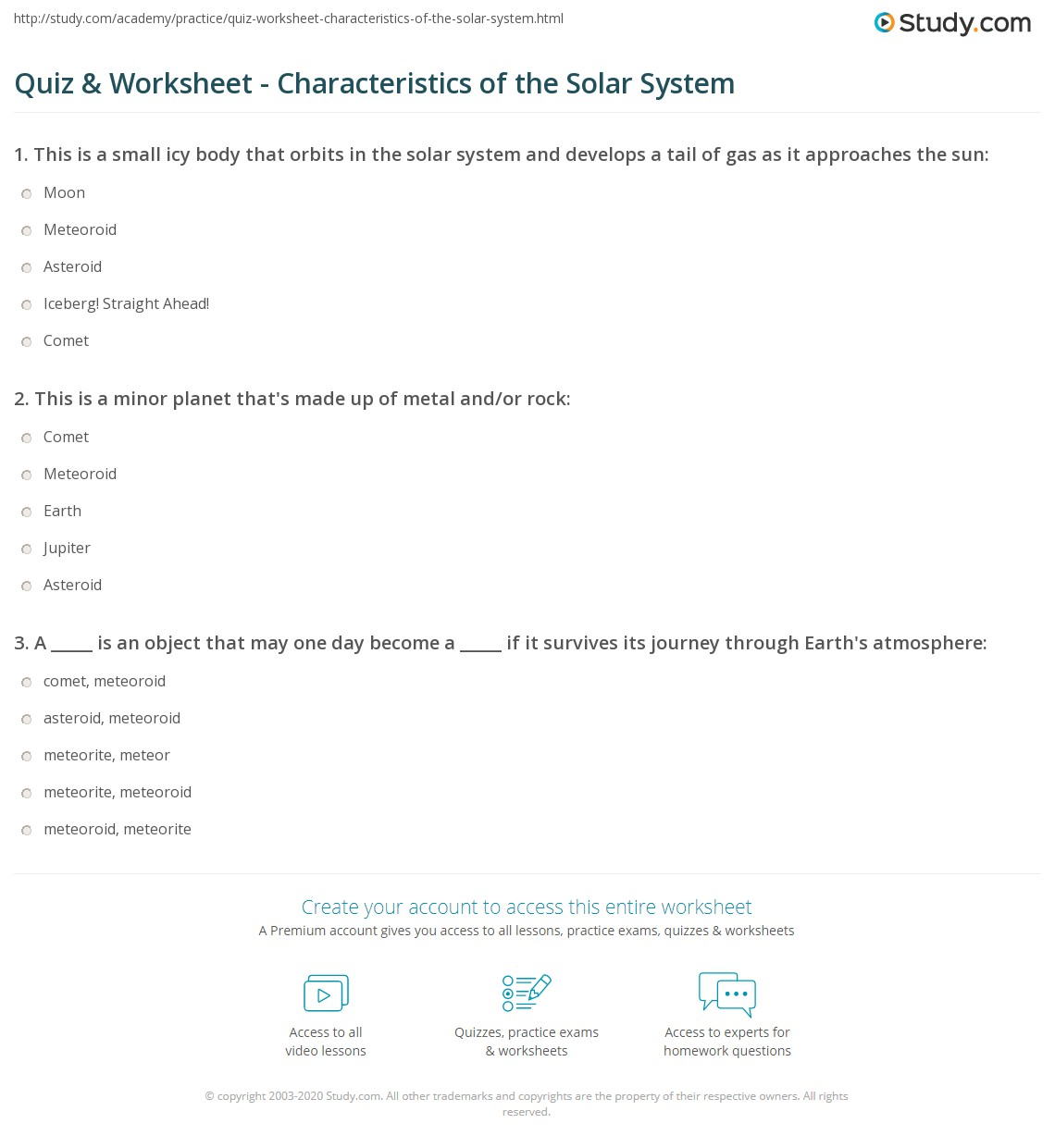 Quiz & Worksheet - Characteristics of the Solar System | Study.com