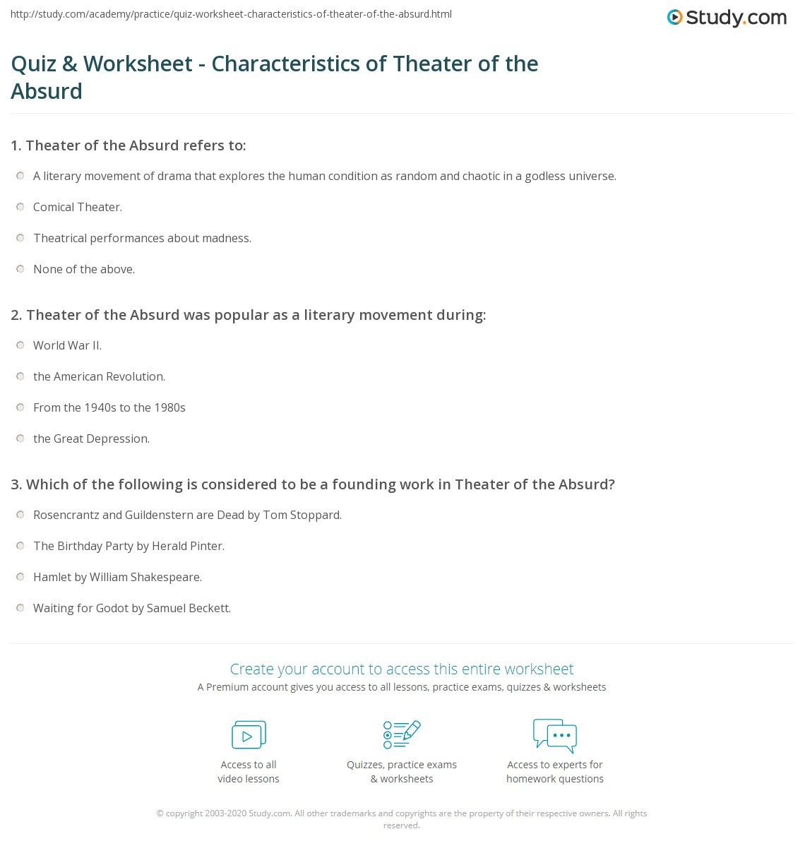 Print Theater of the Absurd: Definition & Characteristics Worksheet