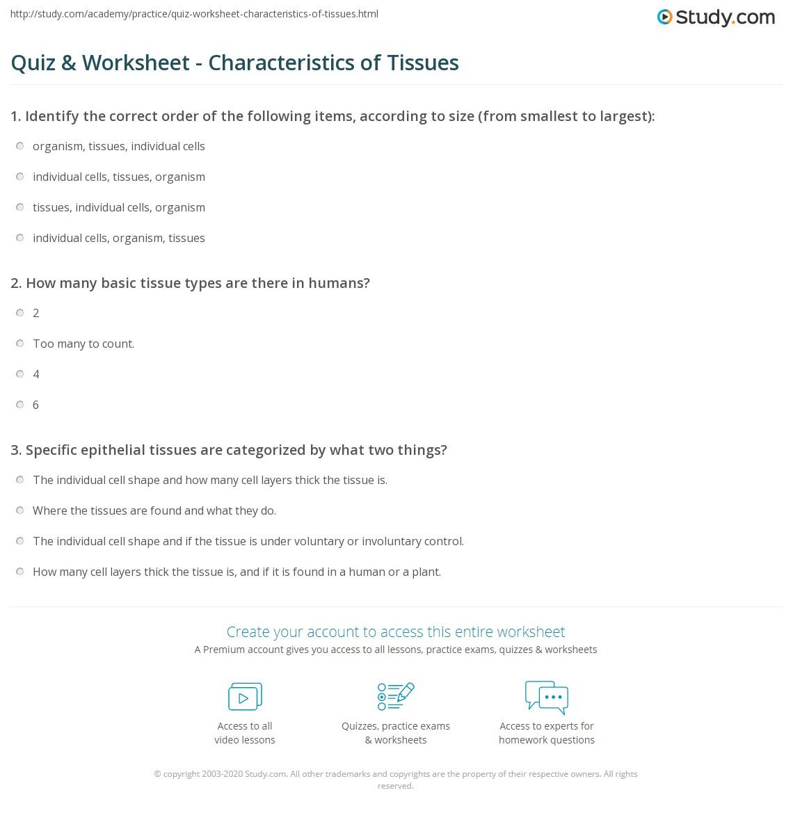 Quiz & Worksheet - Characteristics of Tissues | Study.com