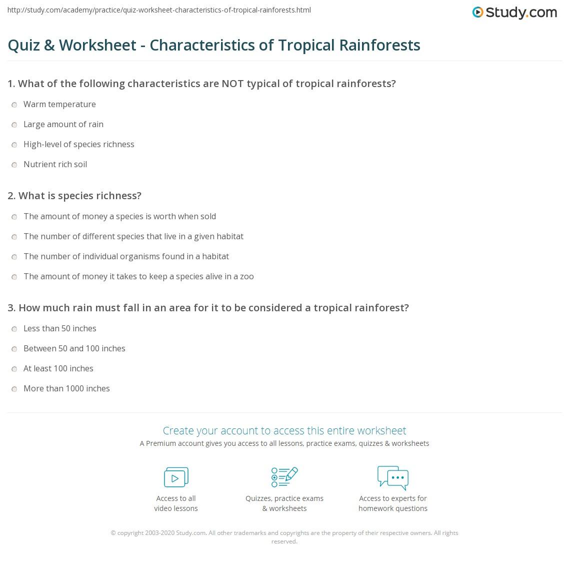 Quiz & Worksheet - Characteristics of Tropical Rainforests | Study.com