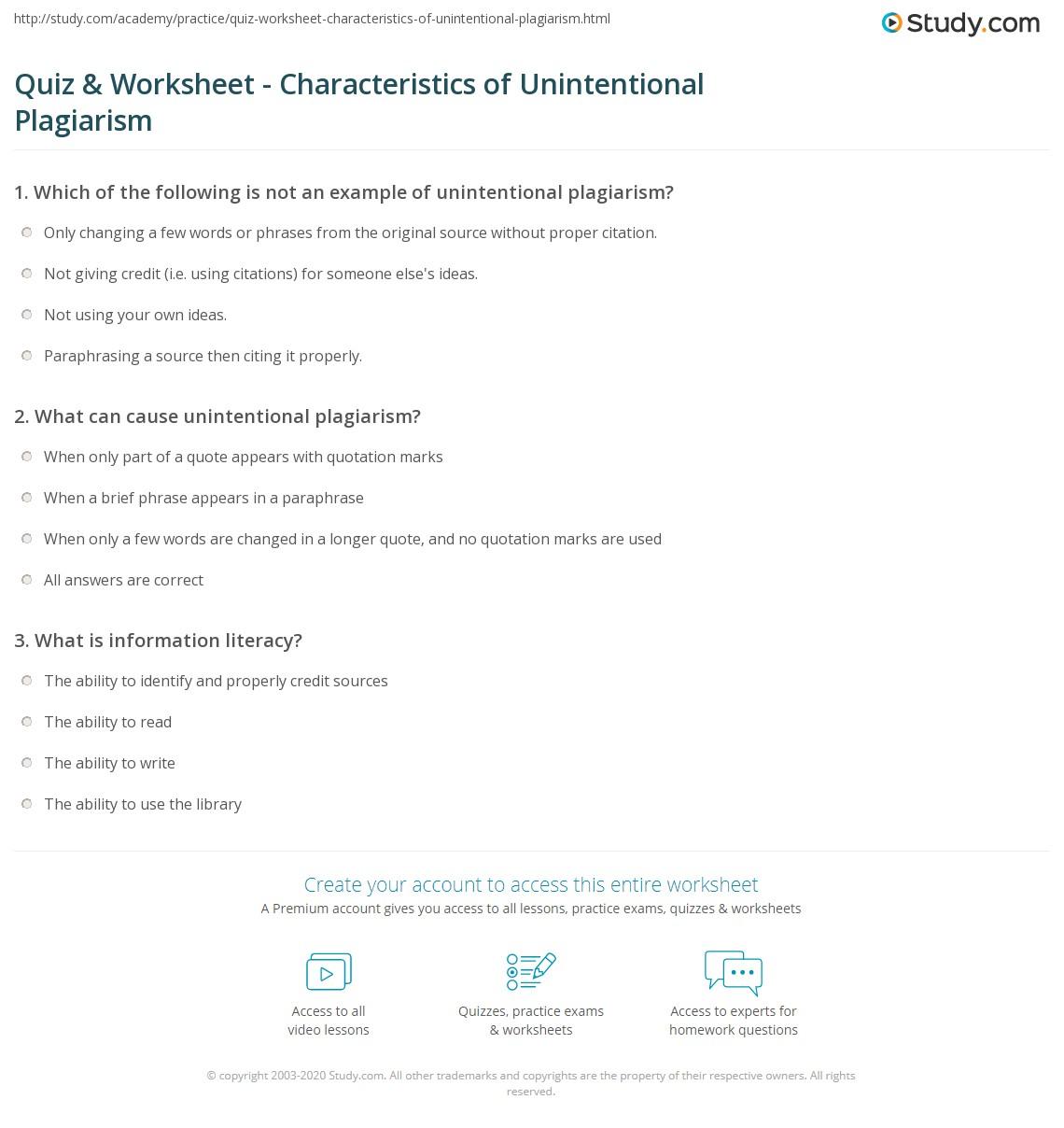 Quiz Worksheet Characteristics Of Unintentional Plagiarism