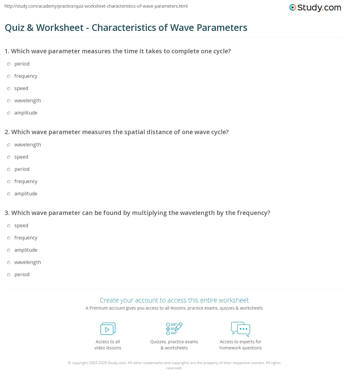Worksheets Wave Speed Worksheet quiz worksheet characteristics of wave parameters study com print wavelength amplitude period frequency speed worksheet