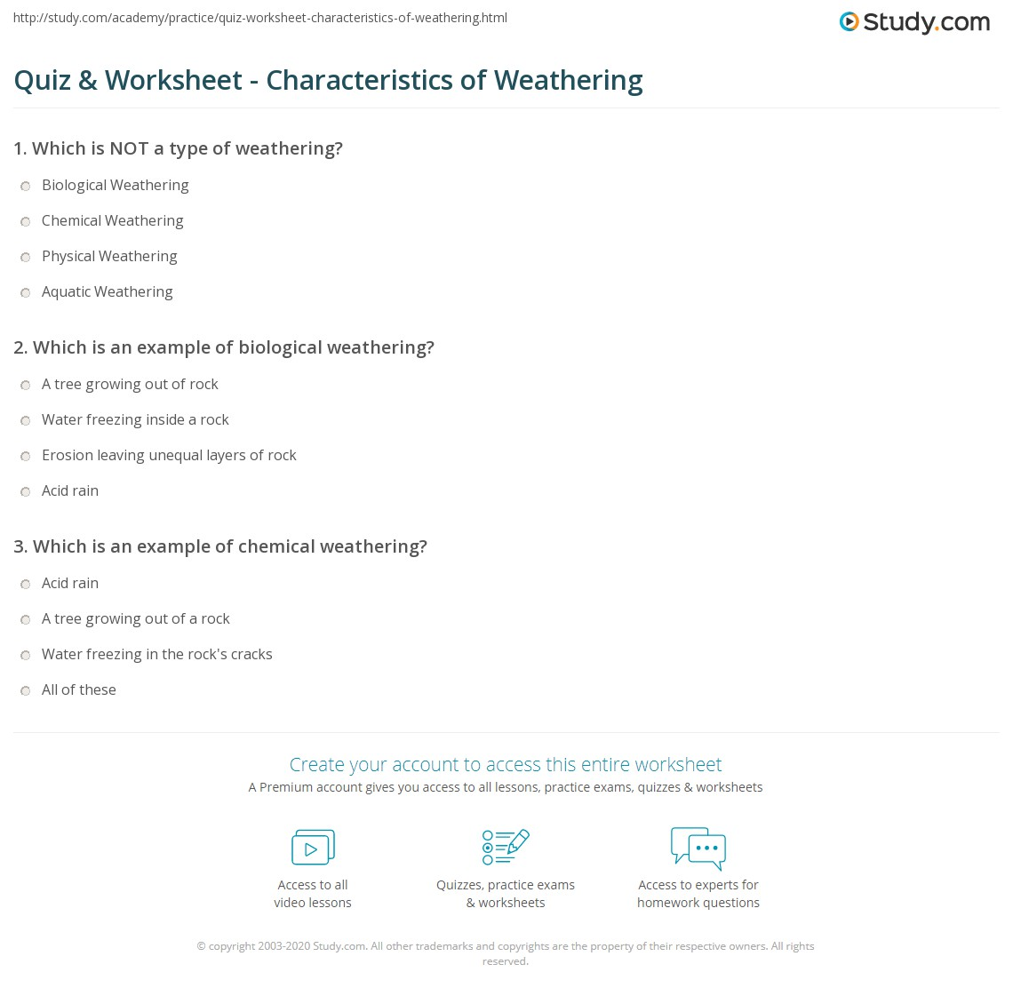 Quiz Worksheet Characteristics Of Weathering Study Com