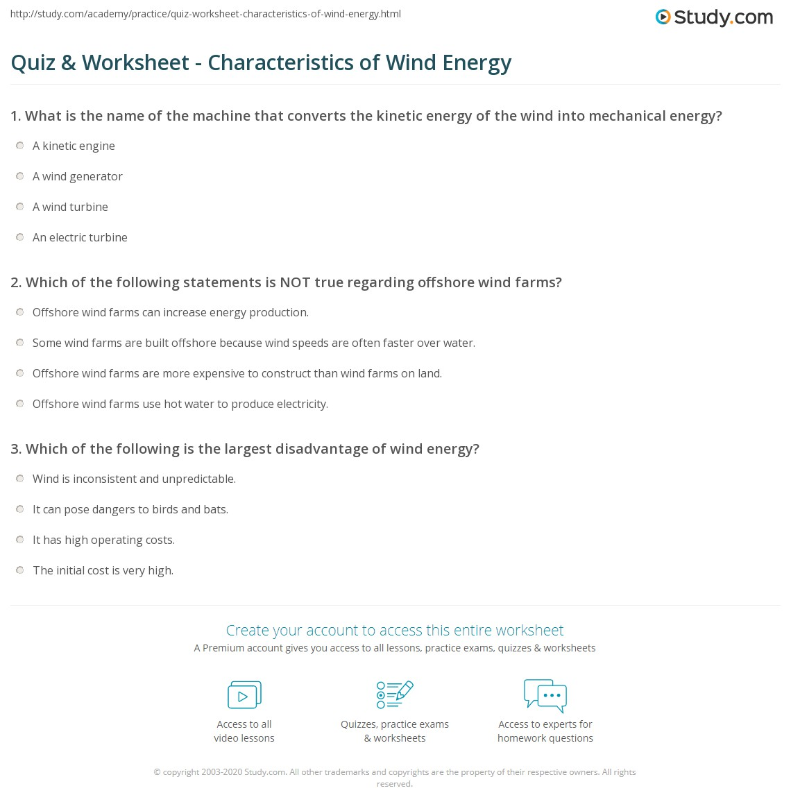 quiz worksheet characteristics of wind energy. Black Bedroom Furniture Sets. Home Design Ideas
