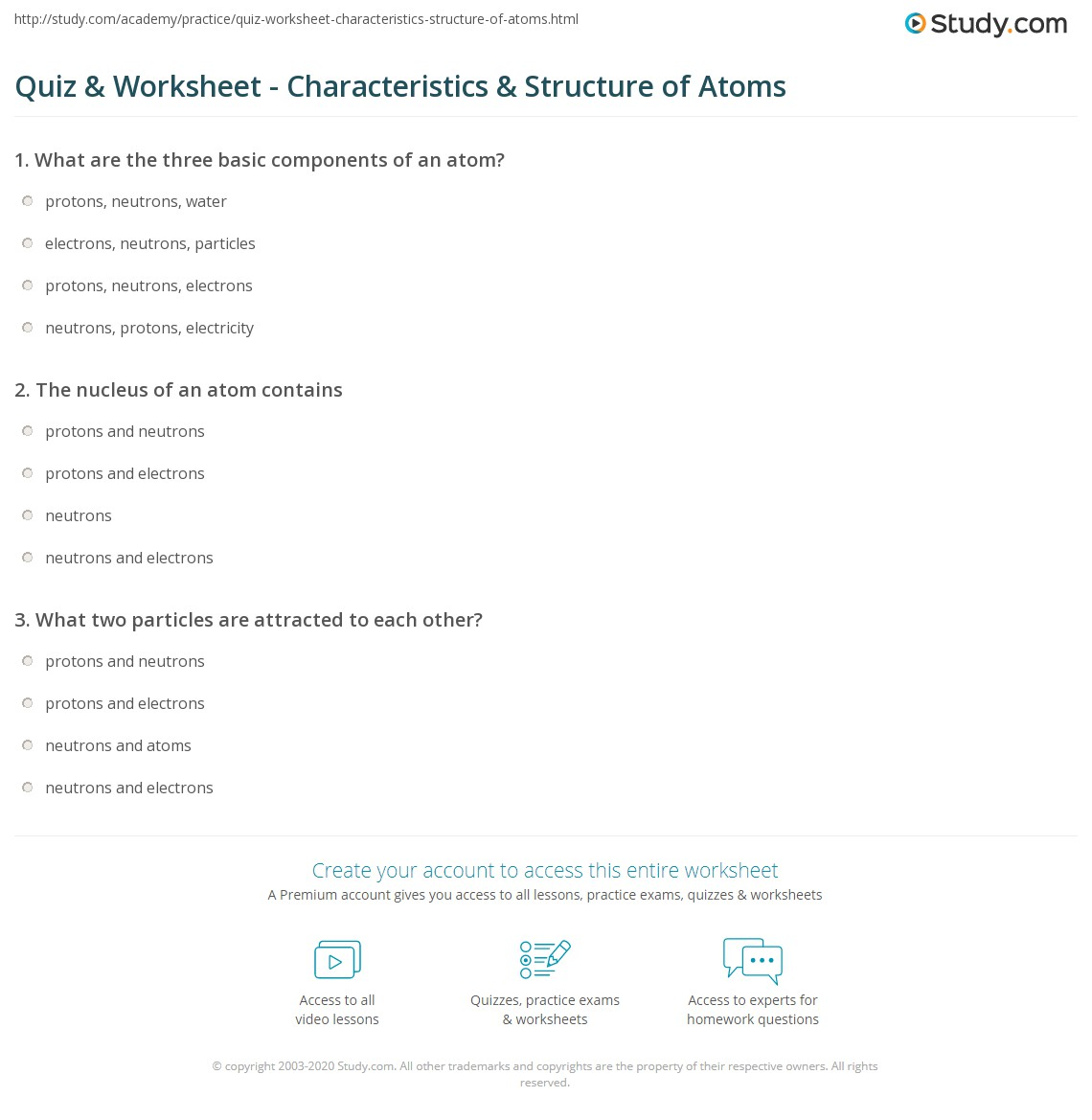 worksheet Calculating Protons Neutrons And Electrons Worksheet quiz worksheet characteristics structure of atoms study com print what are definition worksheet
