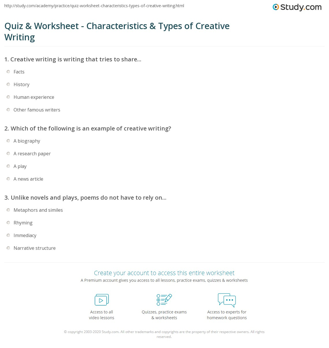 Quiz Worksheet Characteristics Types Of Creative Writing