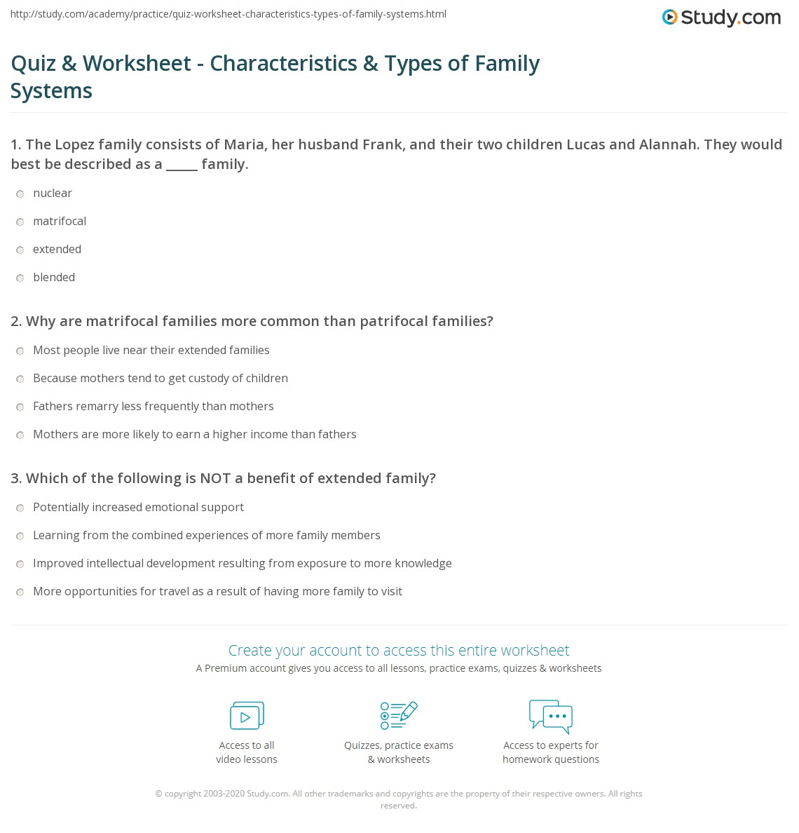 Quiz & Worksheet - Characteristics & Types of Family Systems