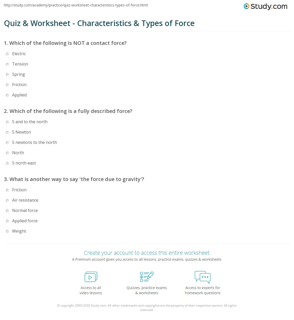 Worksheets Force Worksheets quiz worksheet characteristics types of force study com print definition and worksheet
