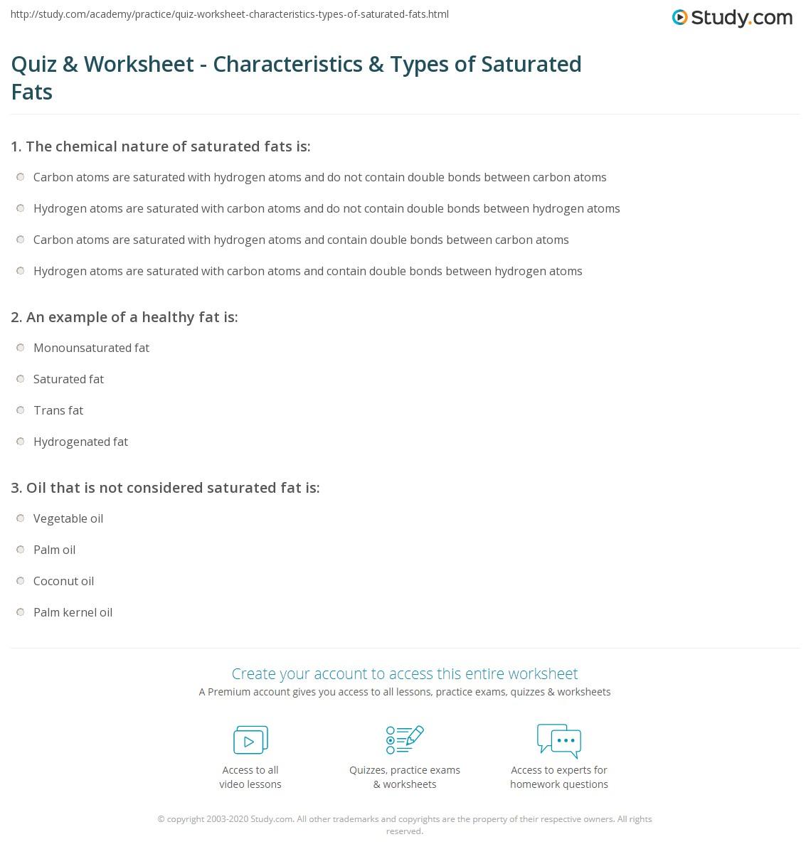 Quiz Worksheet Characteristics Types Of Saturated Fats Study