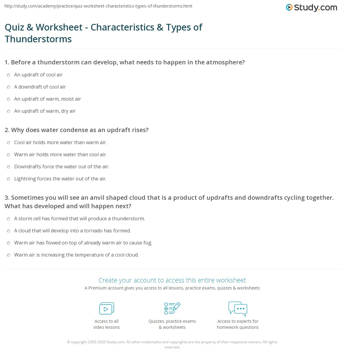 Worksheets Cloud Types Worksheet quiz worksheet characteristics types of thunderstorms definition formation worksheet