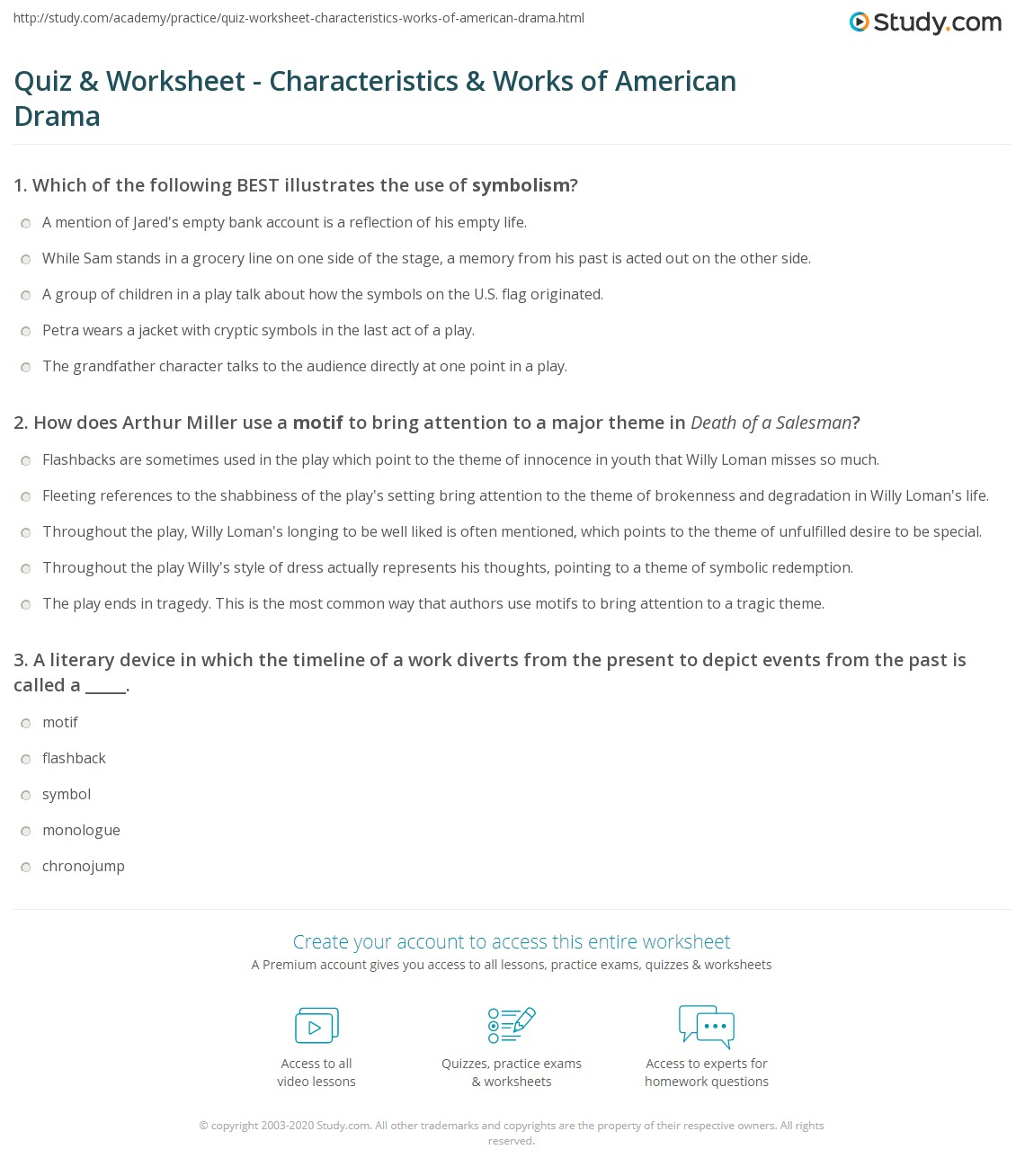 Quiz worksheet characteristics works of american drama print analyzing american drama techniques and plays worksheet buycottarizona Gallery