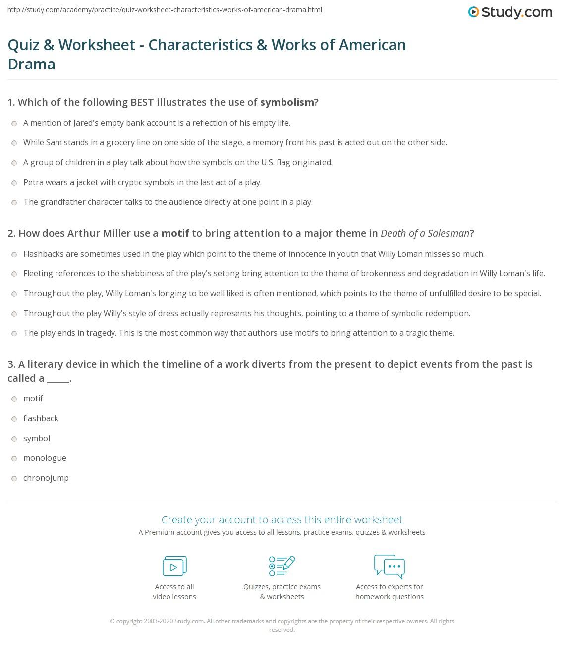 Quiz Worksheet Characteristics Works of American Drama – Drama Worksheets
