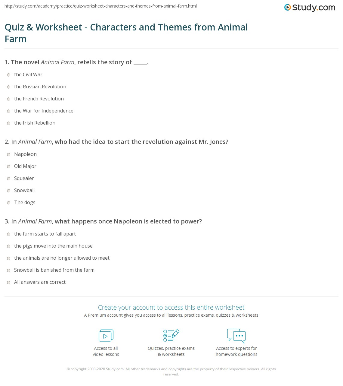 Worksheets Animal Farm Worksheets quiz worksheet characters and themes from animal farm study com print orwells summary worksheet